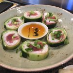 Aerojet Roll Yellowtail, tuna, avocado, rice, wrapped with cucumber and soy bean wrap, ponzu 14.