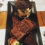 Valentine's special menu. Pink hummus.  Croquetas. Persian rice and vegan chocolate cake. Probab