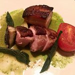 Seared Muscovy Duck Breast, Portobello, Crisp Pork Belly, Watercress, Fried Sage