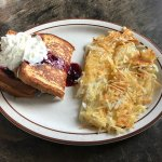 Today I found my new favorite  breakfast! French toast stuffed with a huckleberry cream cheese a