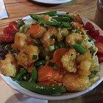 Pei Wei Spicey Shrimp on a salad bowel.