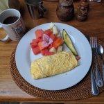 Breakfast omelette with fresh fruit.