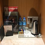 Minibar with coffee and water