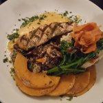 Crab melt, Salmon a la Crema, and Seared tuna.