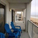 Our three-bedroom oceanfront condo had a long balcony, with access from 2 bedrooms & living room