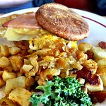 Breakfast sandwich and home fries