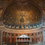 "In the apse, the mosaic ""The Triumph of the Cross"" with crucifix surrounded by the Tree of Life"