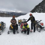 Had an awesome time on the Snowmobiles... Our guide Aaron who let us loose on them in soft powde