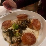 Diver Scallops with Truffle Risotto, Forest Mushrooms, Romanesco