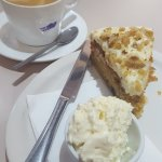 WITCHES BREW flat white coffee and carrot cake with cream
