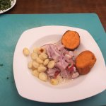 We made ceviche with corn and sweet potatoes red onions and fish of course