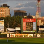 Frontier Field's views include downtown and hello-honking freight trains