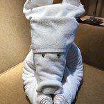 Towel animal with leaf eyes