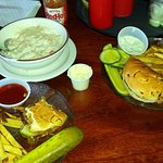 a split burger and fries and wonder clam chowder