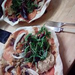 Other vegan recommended rocket to me, we had two vegan pizzas for £8 each and free water and bot