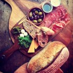 ANTIPASTI BOARD WITH LEMON GARLIC AIOLI AND OUR HOME-MADE SOURDOUGH