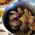 Clams in garlic and white wine & calamari