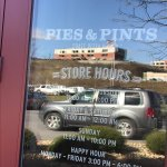 Store hours, store front & menu.