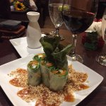 Thai fresh rolls with peanut sauce