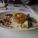2eme plat: escalibado d'aubergine, poivron et oignon, anchois