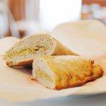 Home baked Breakfast Hummus Calzone