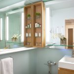 Bathroom for all rooms excep Monarch Suite. Most rooms have walk-in shower, request tub, 9 in ho
