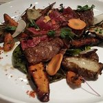 Apple Brandy Farms Ribeye$29.00Confit Sunchoke, Roasted Heirloom Carrots, Charred Spring Onions,