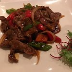 Pepper steak served with rice. Choice of soup or salad. Suggest house salad dressing.
