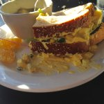 My egg salad sandwich. Outstanding. With soup of the day.