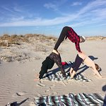 Beach yoga out front!