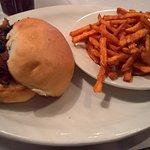 Burnt Ends Sandwich with Sweet Potato Fries