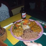 Rice and Peas, 2 salads, and 4 Ital dishes on a huge plate!