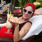 Cheers from Maryanne by pool