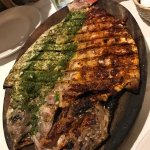 """grilled snapper with """"red and green"""" sauces."""