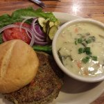 """Sunshine burger and good """"beans and greens"""" soup"""