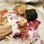 Cod confit, roasted cauliflower purée, scallop chip, apples, shrimps, sea urchin cream (MTLàTABL