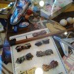 Table top with memorabilia.