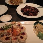 Soooo delicious!!! Lobster & crab sushi, garlic pepper beef mignon, and fried rice with chicken,