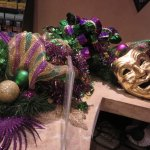 Concierge desk decorated for Mardi Gras