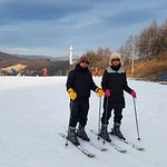 Hubby and me trying skii for the 1st time.