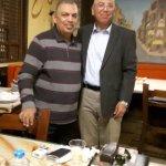 On our Balbaa village restaurant table with Major Khaled Okasha.