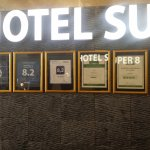 Lobby of Super 8 hotel.
