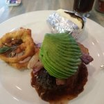 Avocado, bacon, Jalopeno Fillet Steak with Baked Potato and onion rings