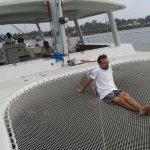 on The net aboard the catamaran