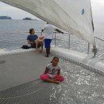 aboard the catamaran