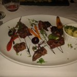 Springbok with baby carrots, beetroot and sauce
