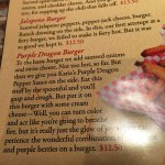 Menu, Purple Dragon Burger