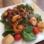 shrimp with spinach salad