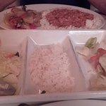 Tiny portion of rice & veg