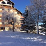 The front of the hotel after fresh snowfall